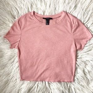 Forever 21 Pink Ribbed Crop Top